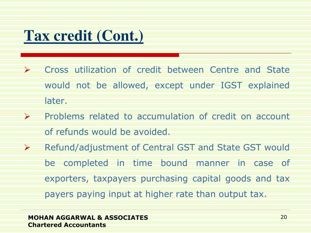 Tax credit (Cont.)