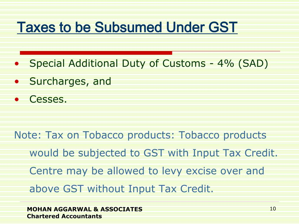 Taxes to be Subsumed Under GST