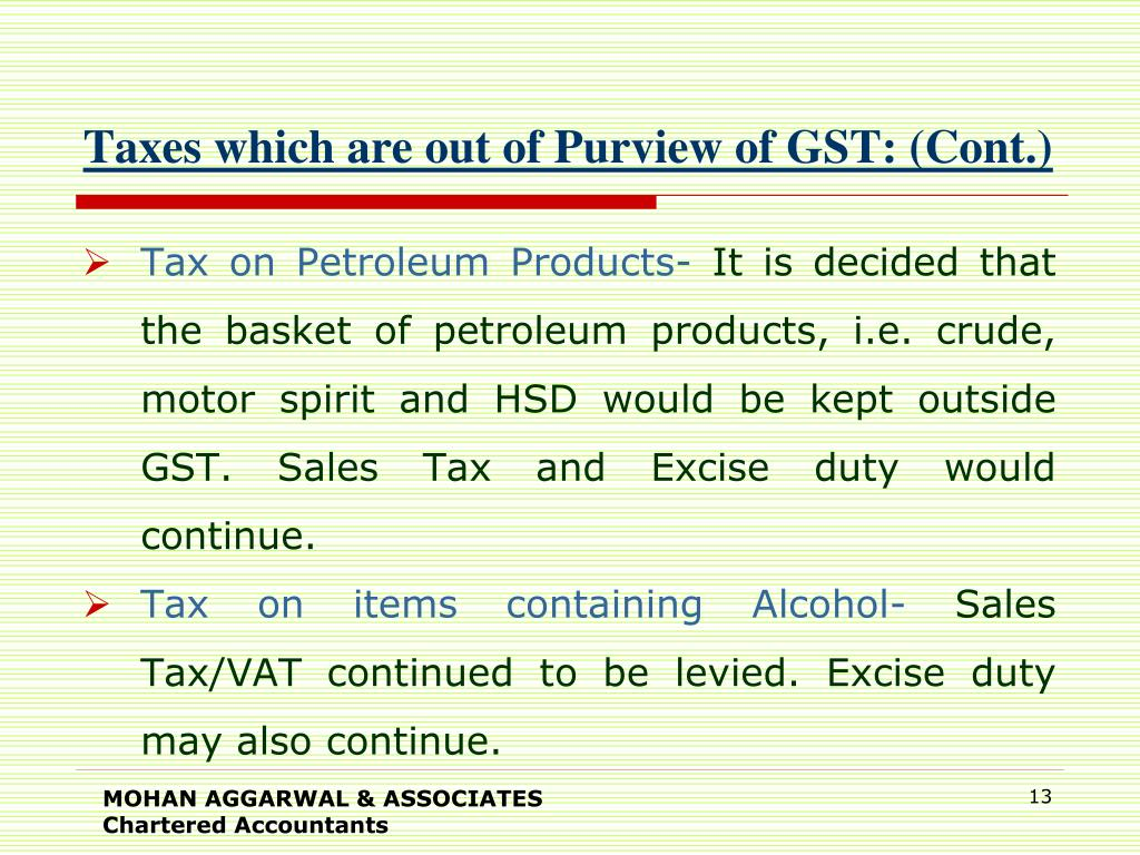 Taxes which are out of Purview of GST: (Cont.)