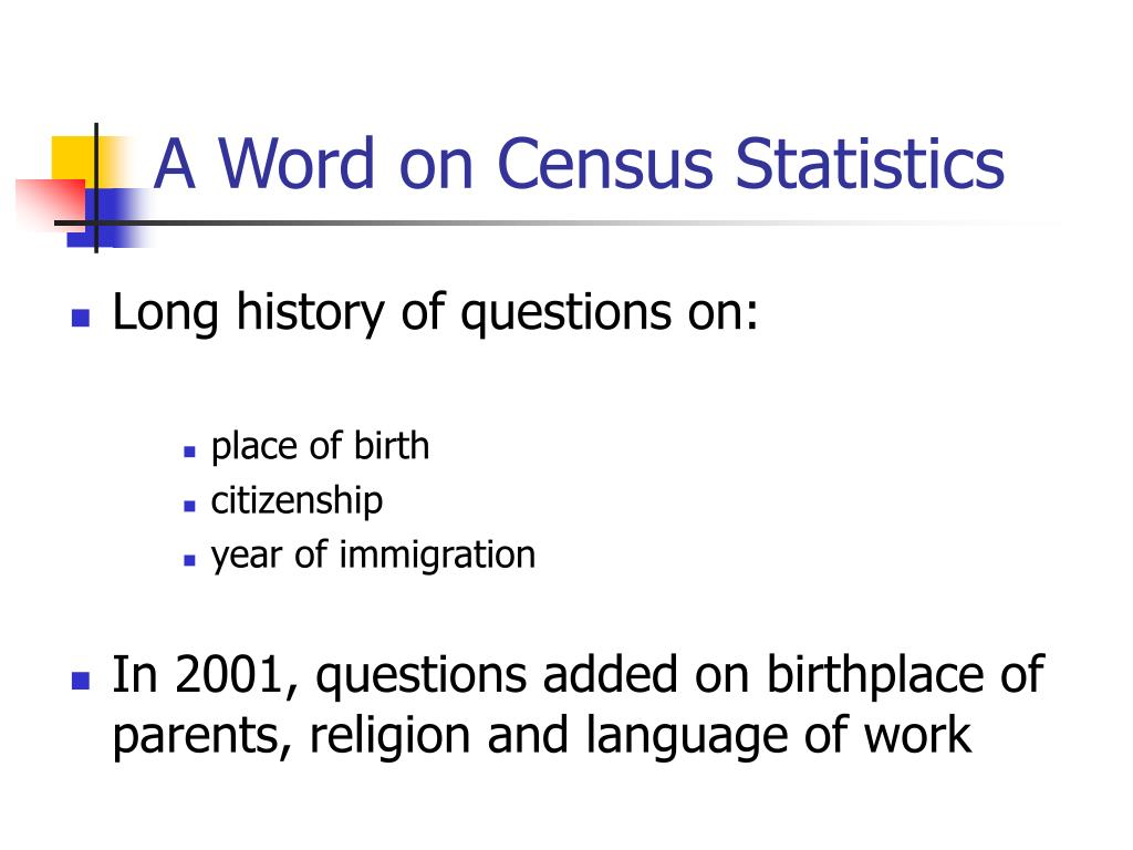 A Word on Census Statistics
