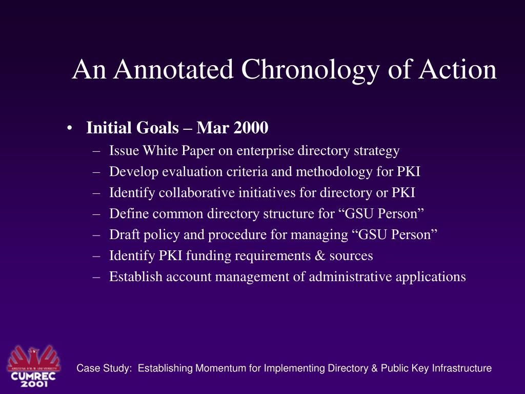 An Annotated Chronology of Action