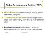global environmental politics gep