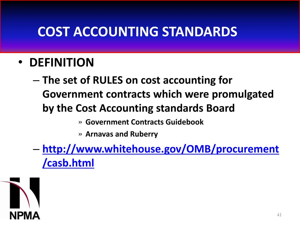 COST ACCOUNTING STANDARDS