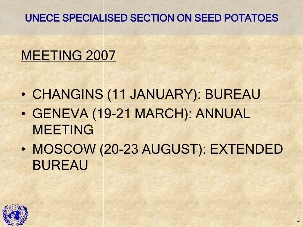 UNECE SPECIALISED SECTION ON SEED POTATOES