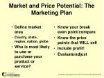 market and price potential the marketing plan
