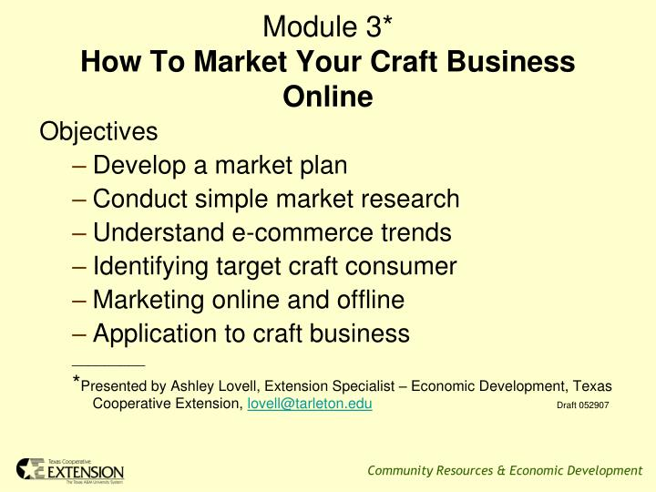 Module 3 how to market your craft business online