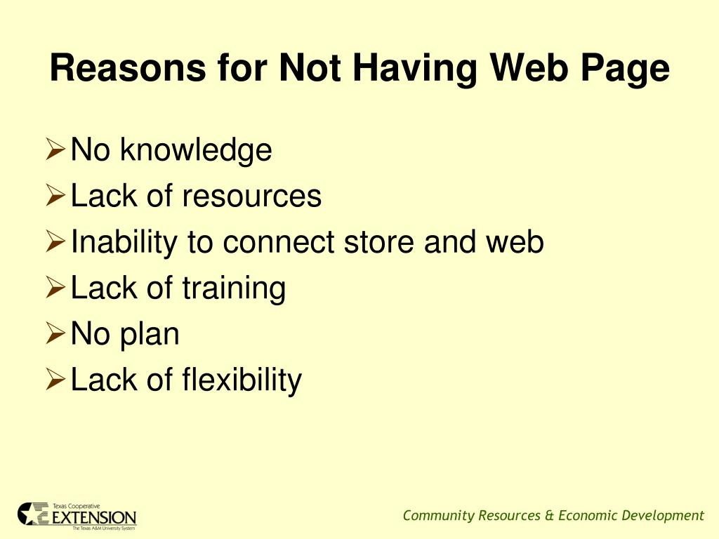 Reasons for Not Having Web Page
