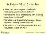 activity 10 to15 minutes