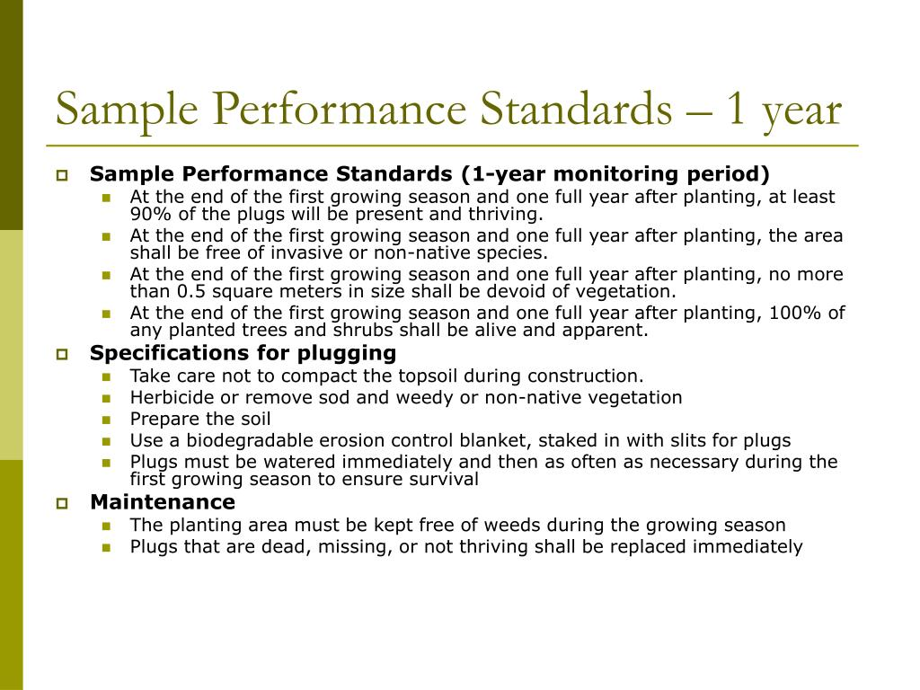 Sample Performance Standards – 1 year