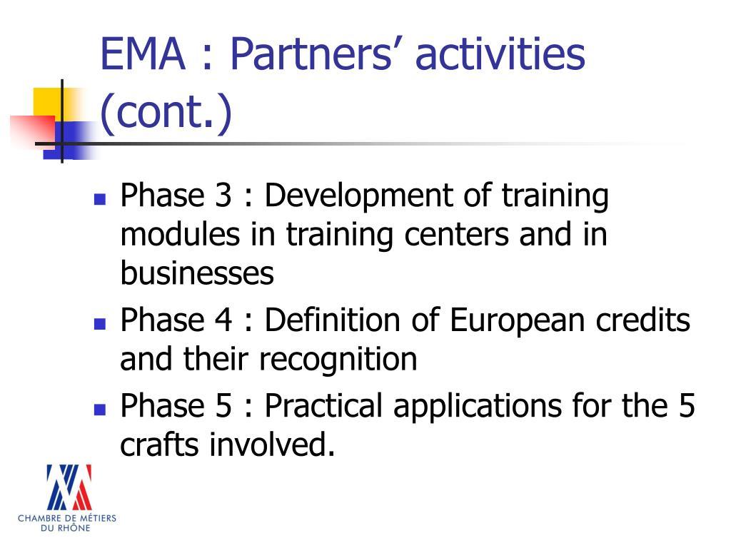 EMA : Partners' activities (cont
