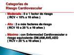 categor as de riesgo cardiovascular