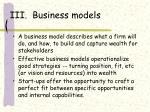 iii business models