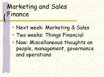 marketing and sales finance