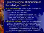epistemological dimension of knowledge creation