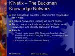 k netix the buckman knowledge network