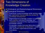 two dimensions of knowledge creation