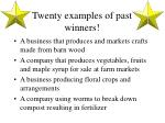 twenty examples of past winners
