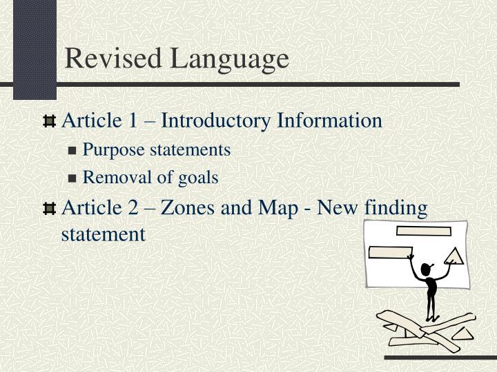 Revised language