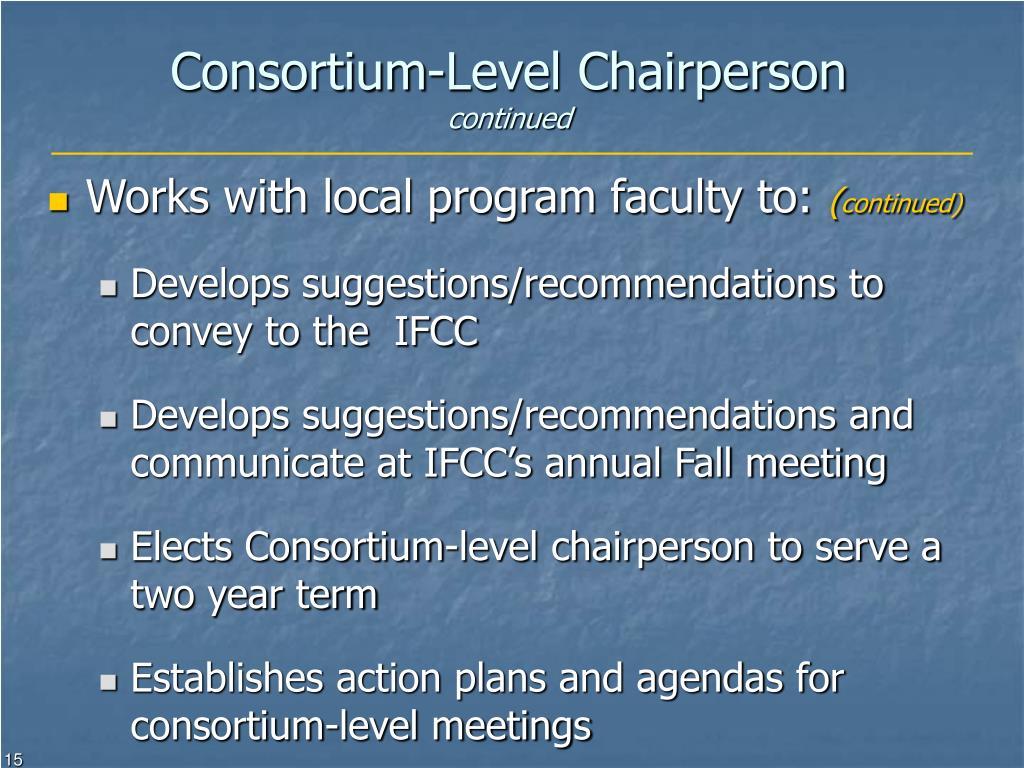 Consortium-Level Chairperson