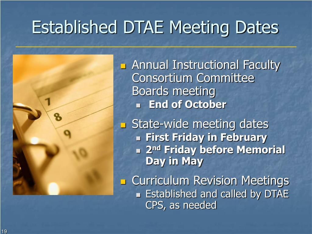 Established DTAE Meeting Dates