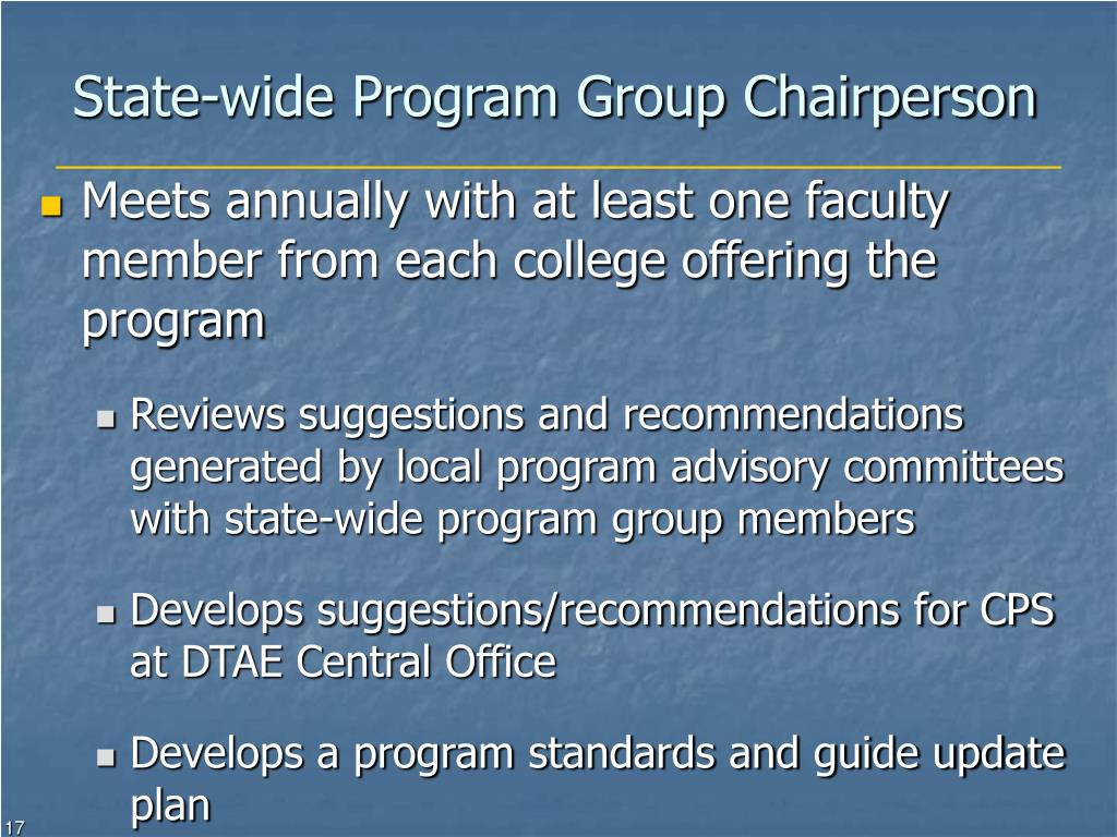 State-wide Program Group Chairperson