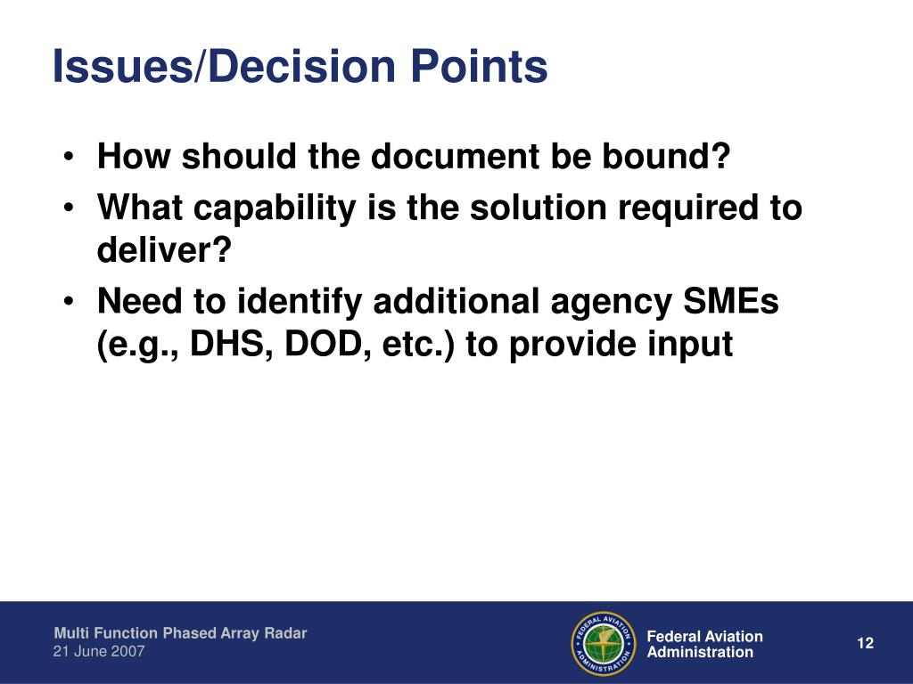 Issues/Decision Points