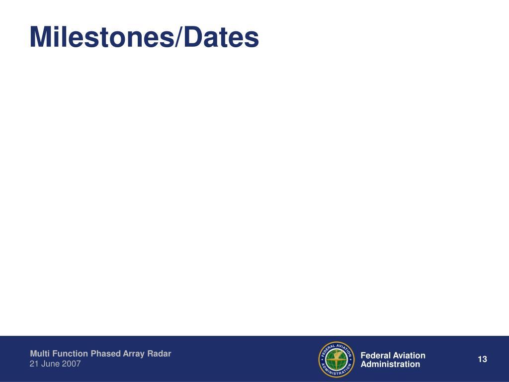 Milestones/Dates