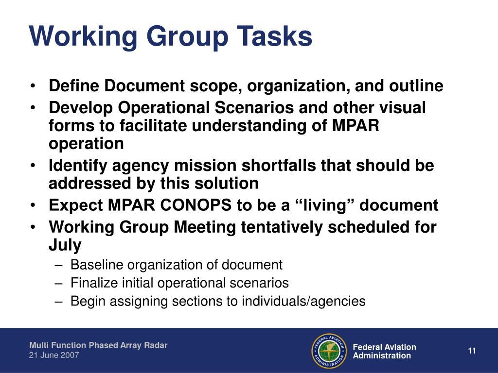 Working Group Tasks