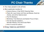 pc chair thanks