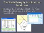the spatial integrity is built at the parcel level