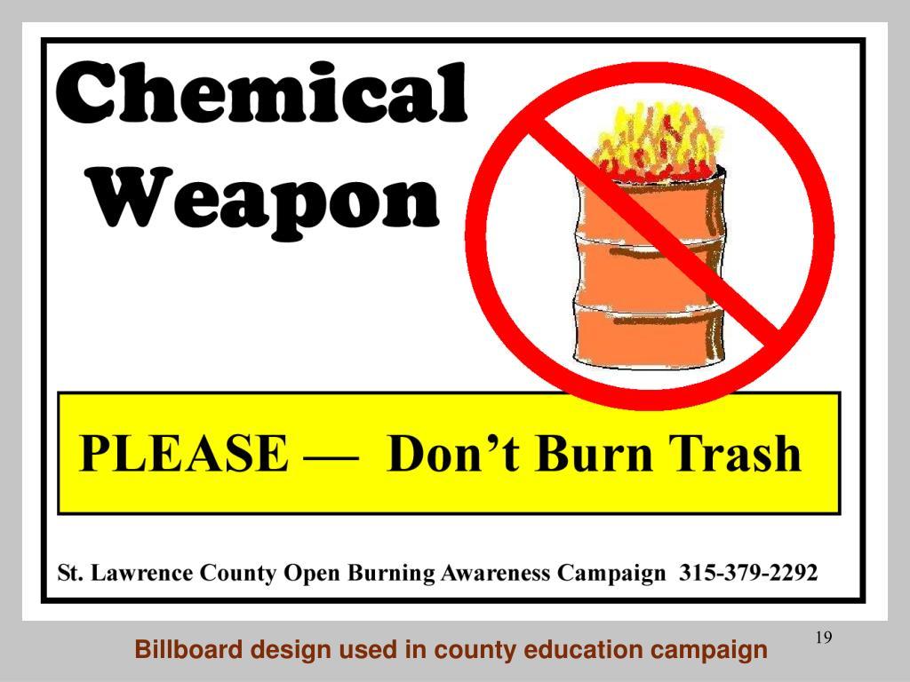 Billboard design used in county education campaign