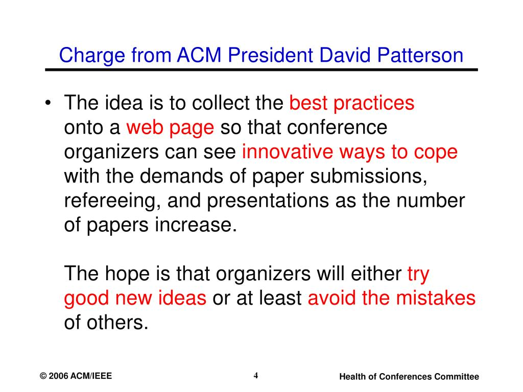 Charge from ACM President David Patterson