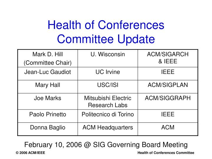 Health of conferences committee update