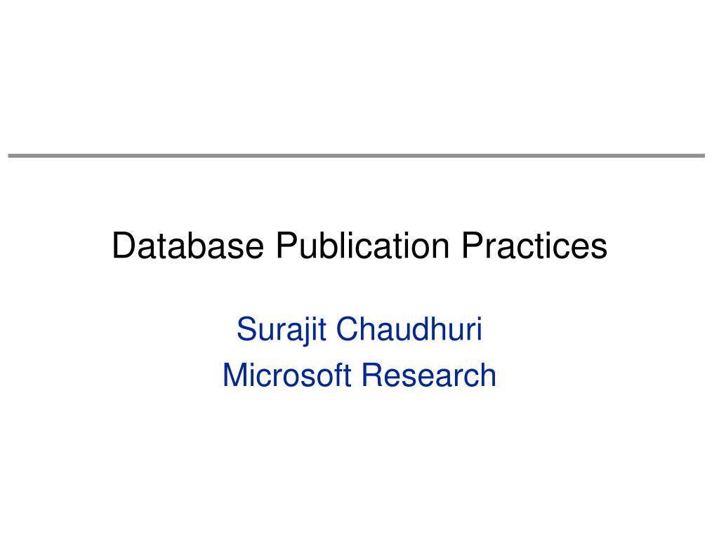 database publication practices l.
