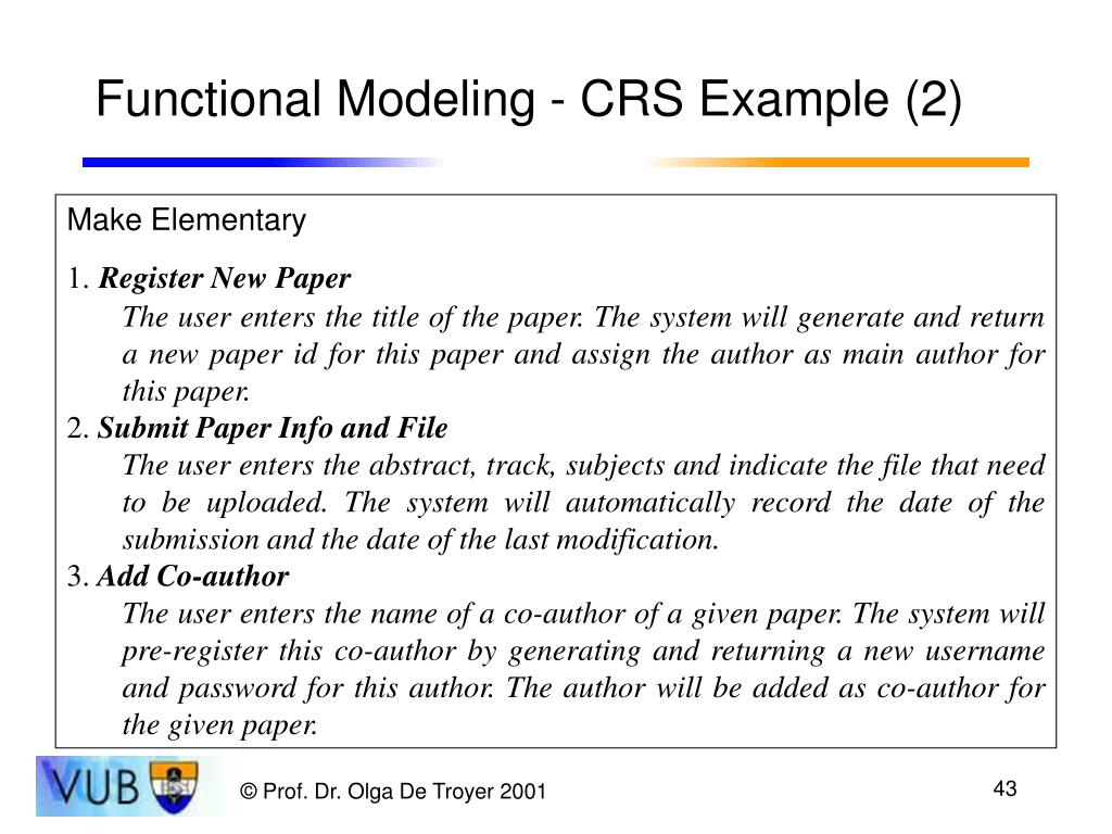 Functional Modeling - CRS Example (2)