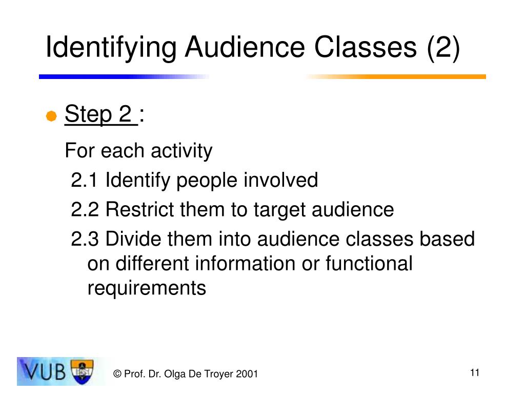 Identifying Audience Classes (2)