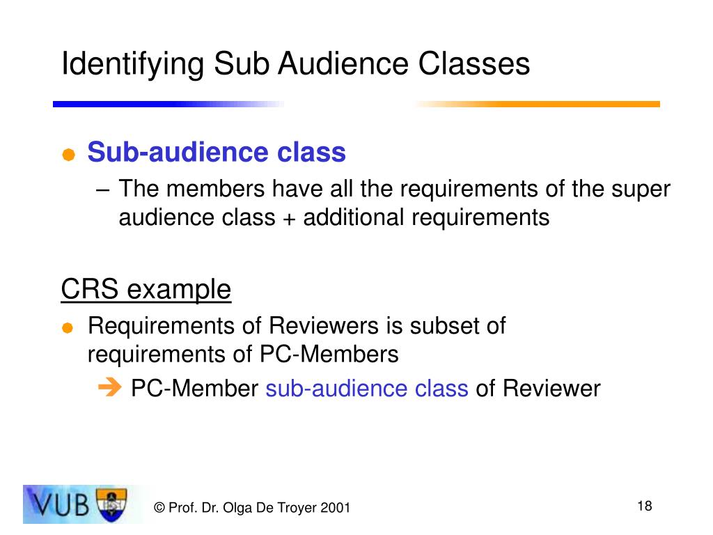 Identifying Sub Audience Classes