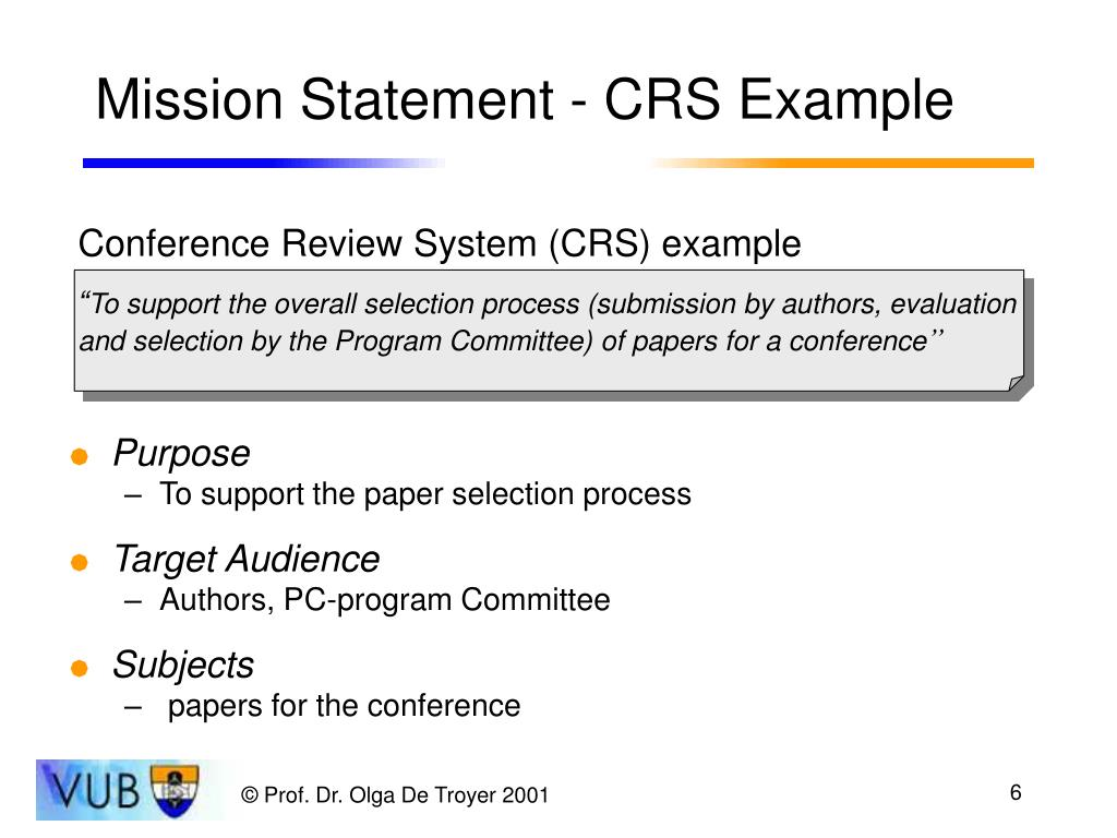 Mission Statement - CRS Example