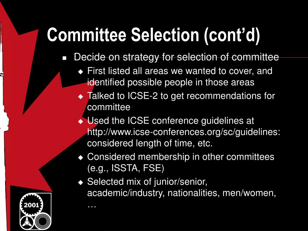 Committee Selection (cont'd)