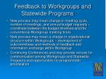 feedback to workgroups and statewide programs25
