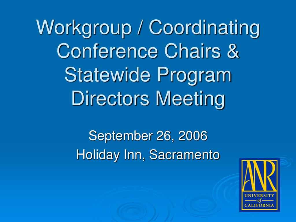 workgroup coordinating conference chairs statewide program directors meeting l.