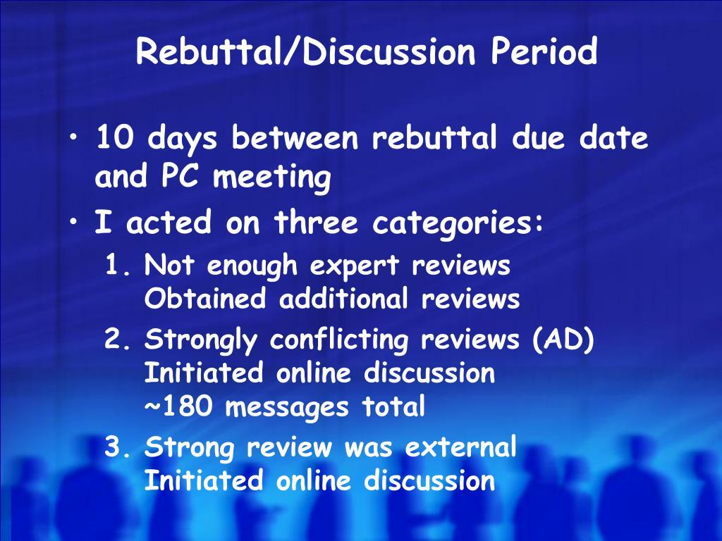 Rebuttal/Discussion Period