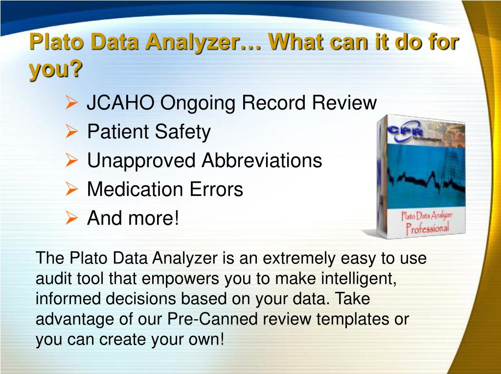 Plato Data Analyzer… What can it do for you?