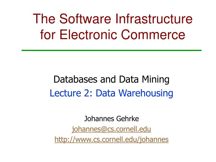 the software infrastructure for electronic commerce n.