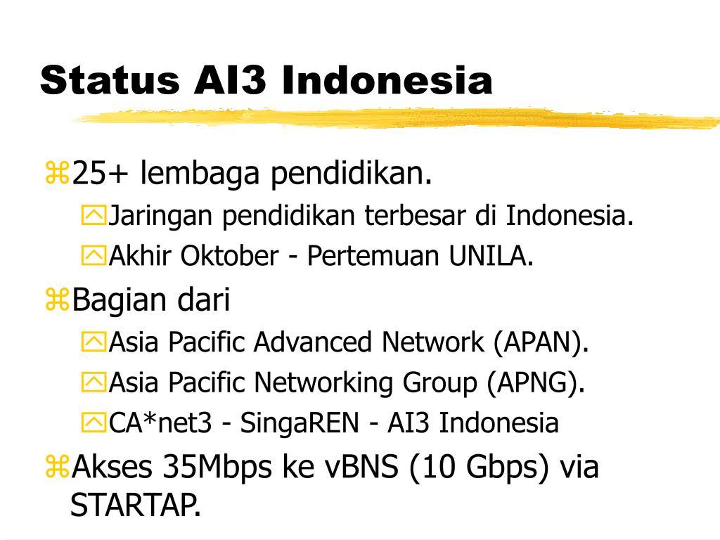 Status AI3 Indonesia