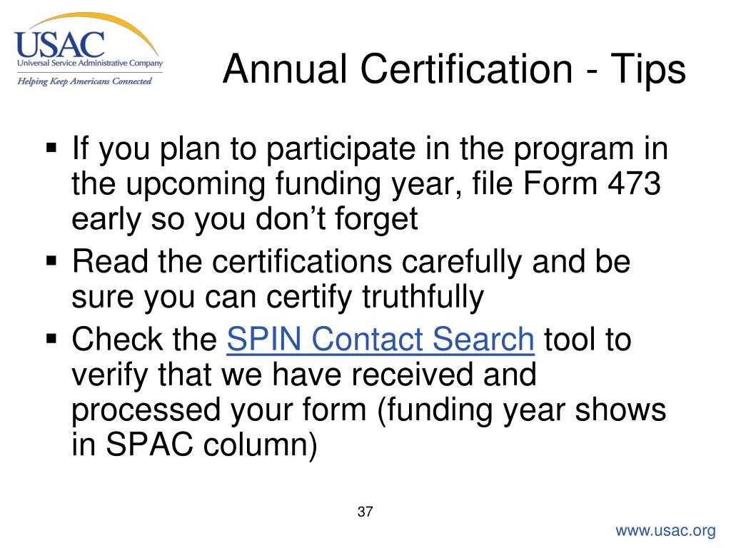 Annual Certification - Tips