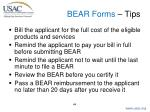 bear forms tips