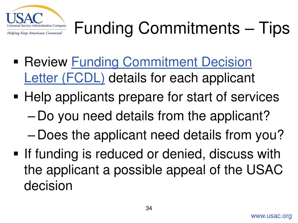 Funding Commitments – Tips