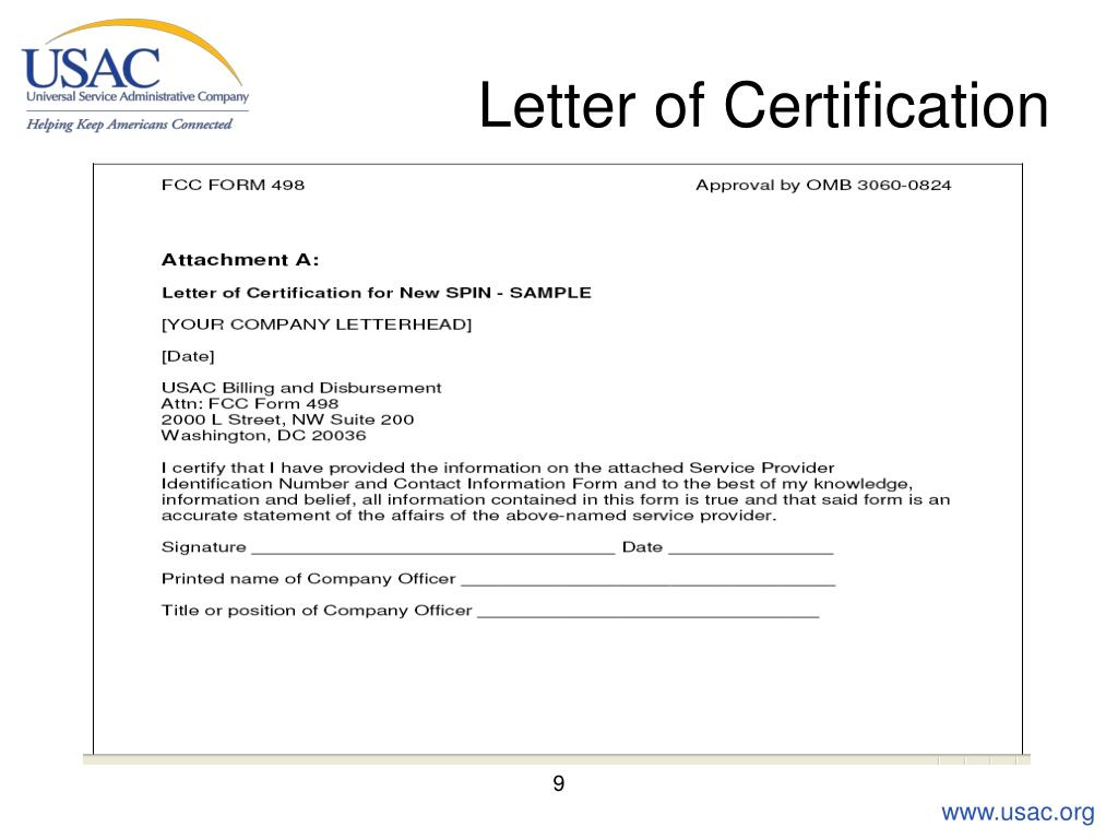 Letter of Certification