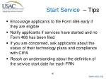 start service tips